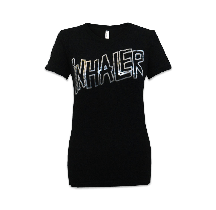 Buy Online Miles Kane - Silver Foil Inhaler Dots Ladies Black T-Shirt