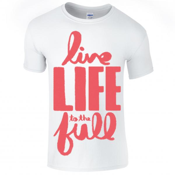 Buy Online Nathan Grisdale - White Live Life To The Full T-Shirt