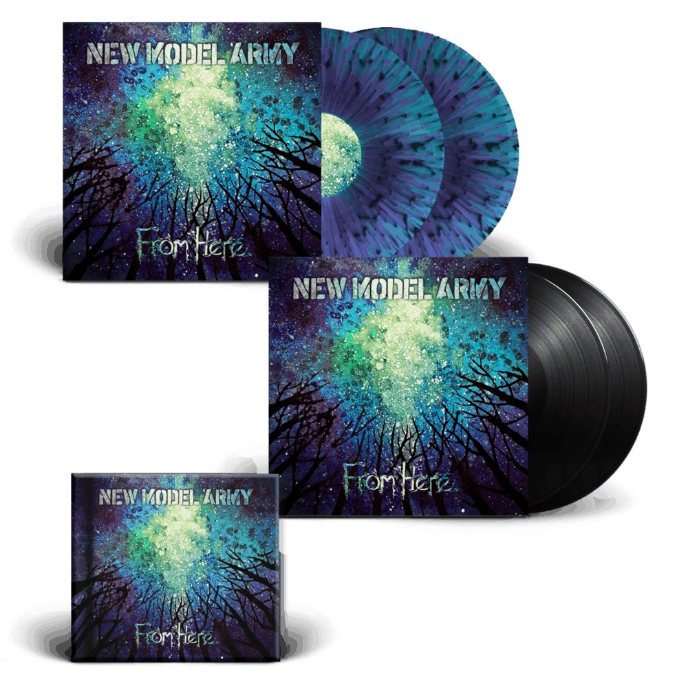 Buy Online New Model Army - From Here - CD Hardcover Mediabook + Double Heavyweight Gatefold Vinyl (Signed) + Splattered Vinyl (Signed)