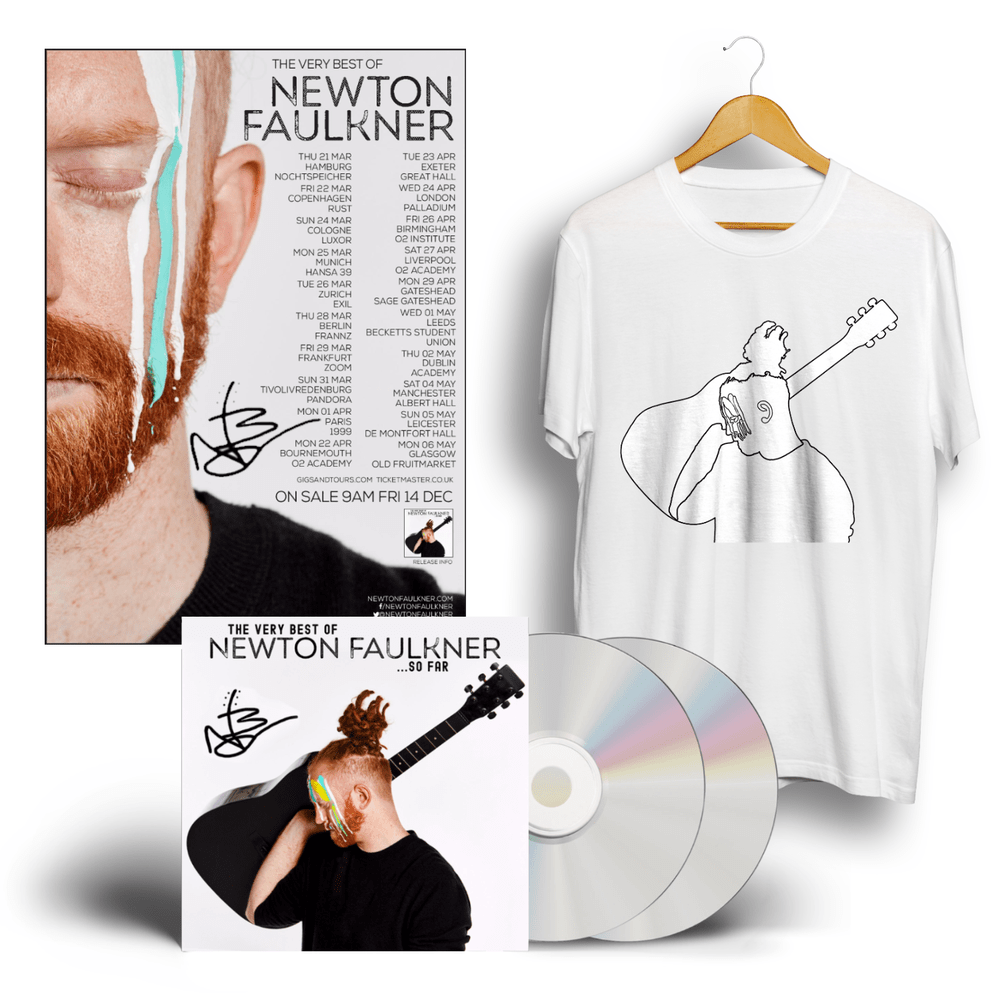Buy Online Newton Faulkner - The Very Best Of Newton Faulkner…So Far Signed CD + T-Shirt + Signed Tour Poster
