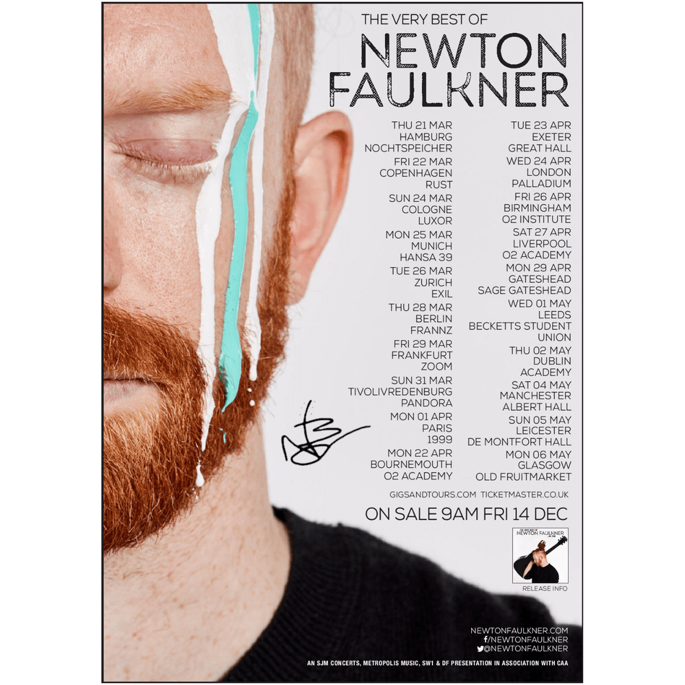 Buy Online Newton Faulkner - Signed A1 Tour Poster