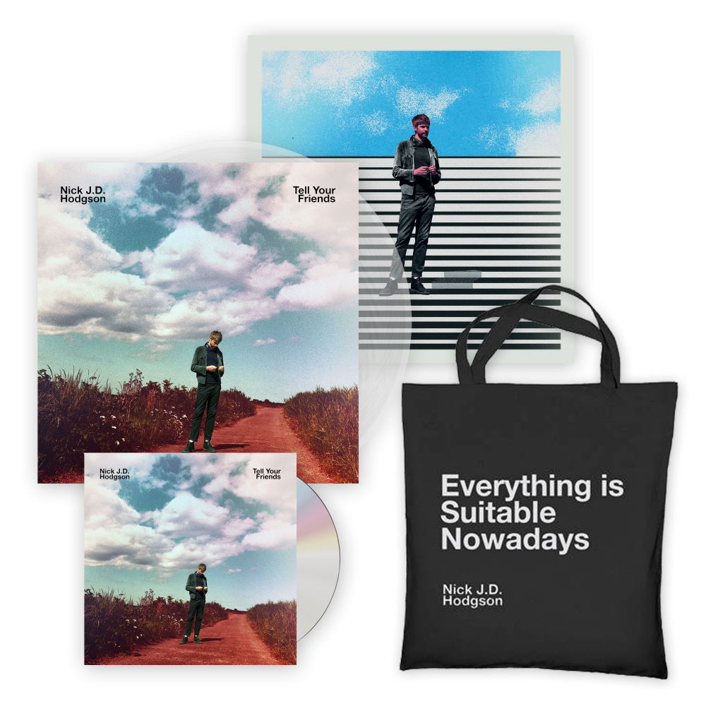 Buy Online Nick JD Hodgson - Tell Your Friends CD (Signed) + Clear Vinyl LP (Ltd Edition Signed, w/ Print Insert) + Tote Bag