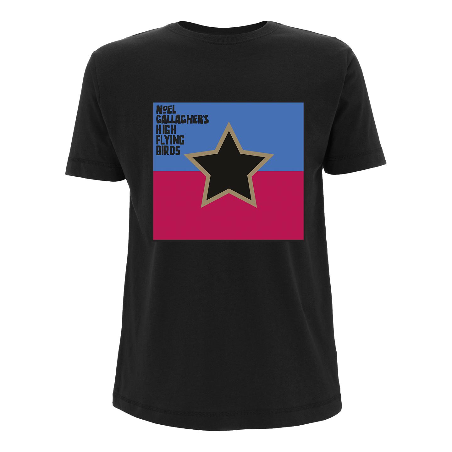 Buy Online Noel Gallagher's High Flying Birds - Mens Black Flag T-Shirt