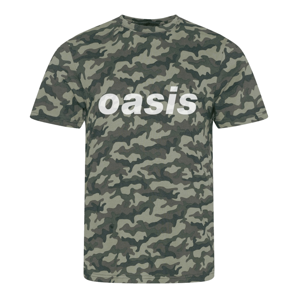Buy Online Oasis - Oasis Replica 1996 Camo Green T-shirt