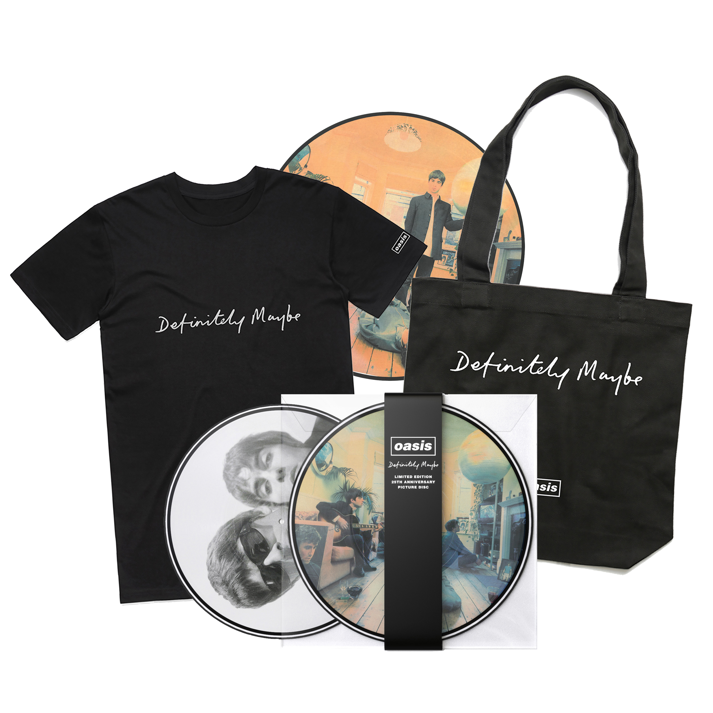Buy Online Oasis - Definitely Maybe Picture Disc + T-Shirt + Tote Bag + Slipmat
