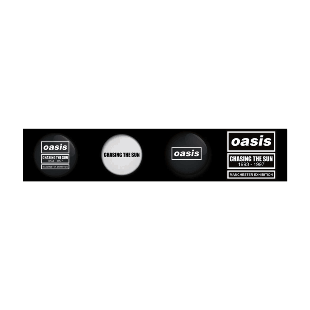 Buy Online Oasis - Chasing The Sun Exhibition Badge Set (3 x Badges)