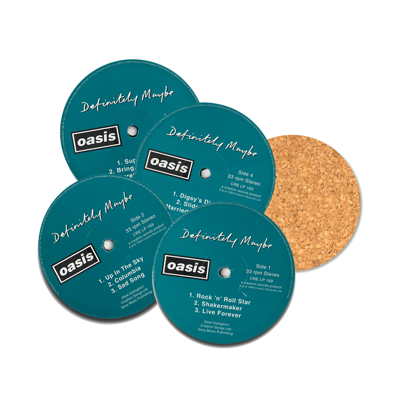 Buy Online Oasis - Definitely Maybe 4 x Vinyl Labels Coaster Set