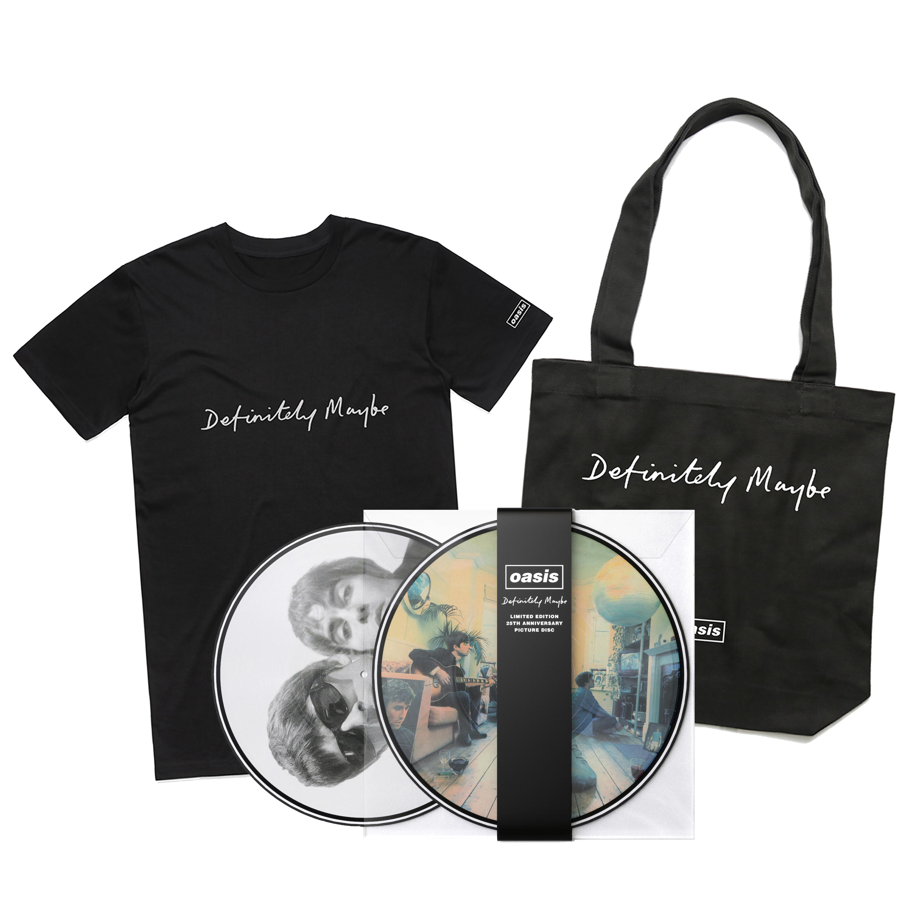 Buy Online Oasis - Definitely Maybe Picture Disc + T-Shirt + Tote Bag