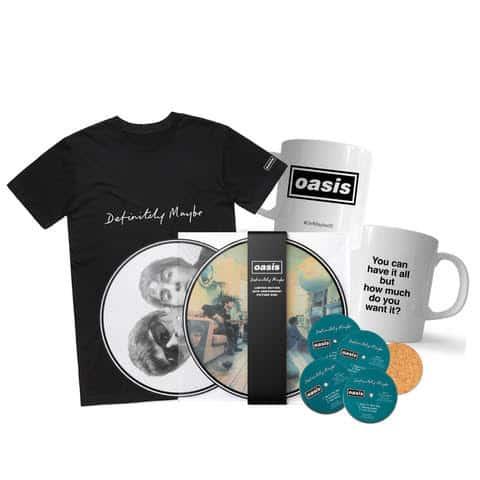 Buy Online Oasis - Definitely Maybe Picture Disc + T-Shirt + Coasters + Lyric Mug