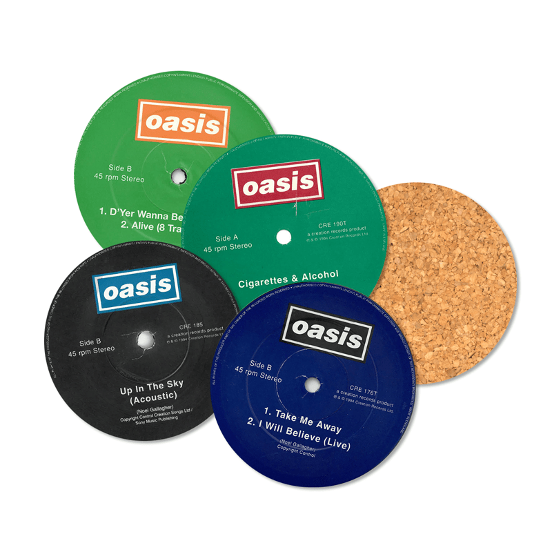 Buy Online Oasis - Singles Vinyl Labels 8 x Coaster Set