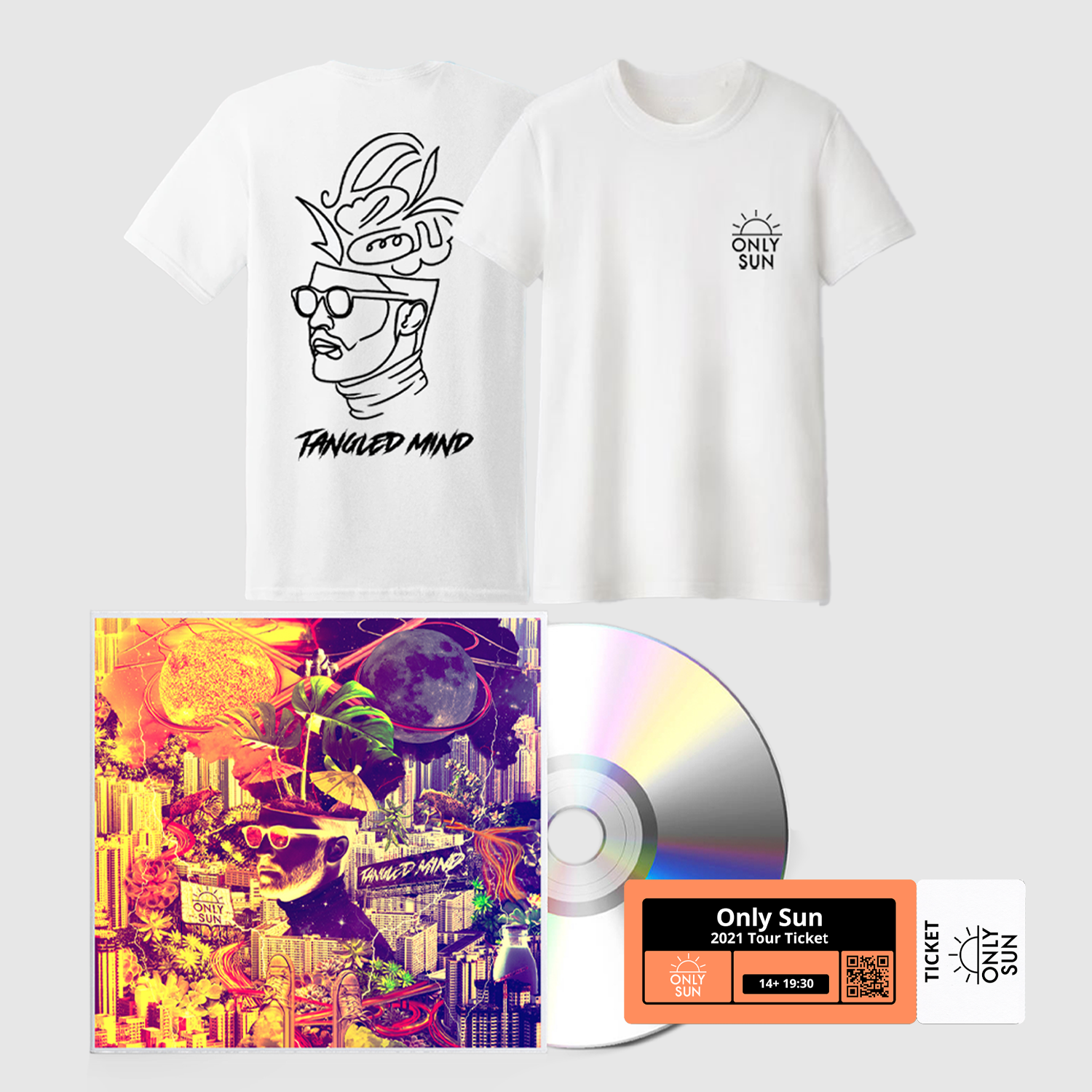 Buy Online Only Sun - Tangled Mind CD + White T-Shirt + 2021 Tour Ticket