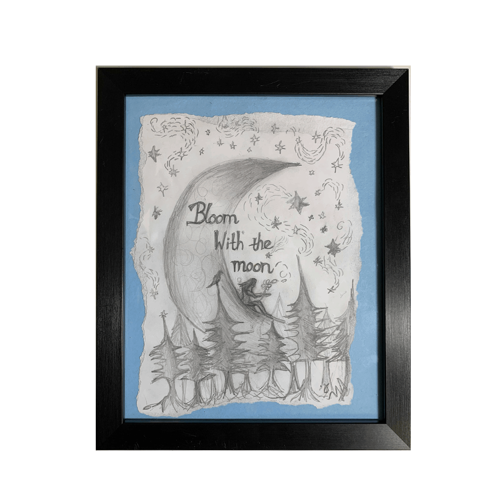 """Buy Online Polly Scattergood - Charcoal Sketch - """"bloom"""" with the moon"""" (Blue)"""