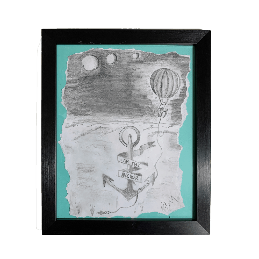 """Buy Online Polly Scattergood - Charcoal Sketch - """"I am the anchor"""" (Green)"""