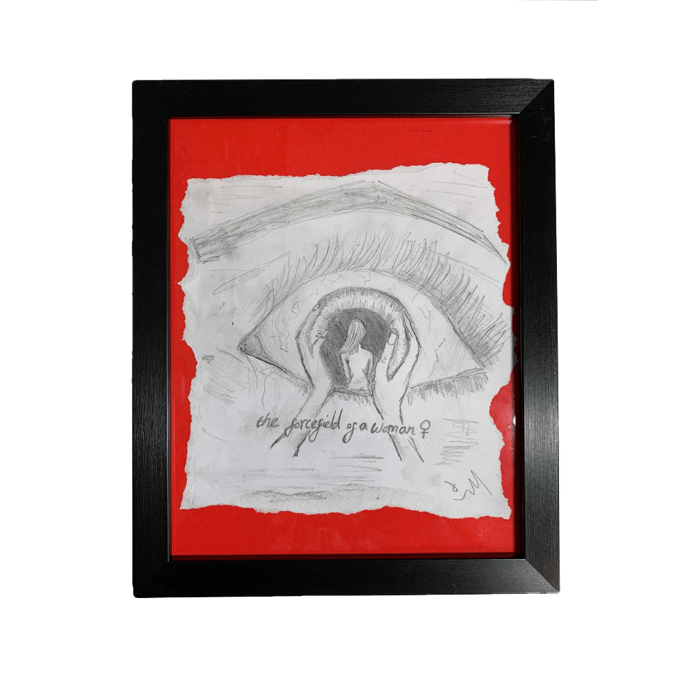 """Buy Online Polly Scattergood - Charcoal Sketch - """"red woman"""" (Red)"""