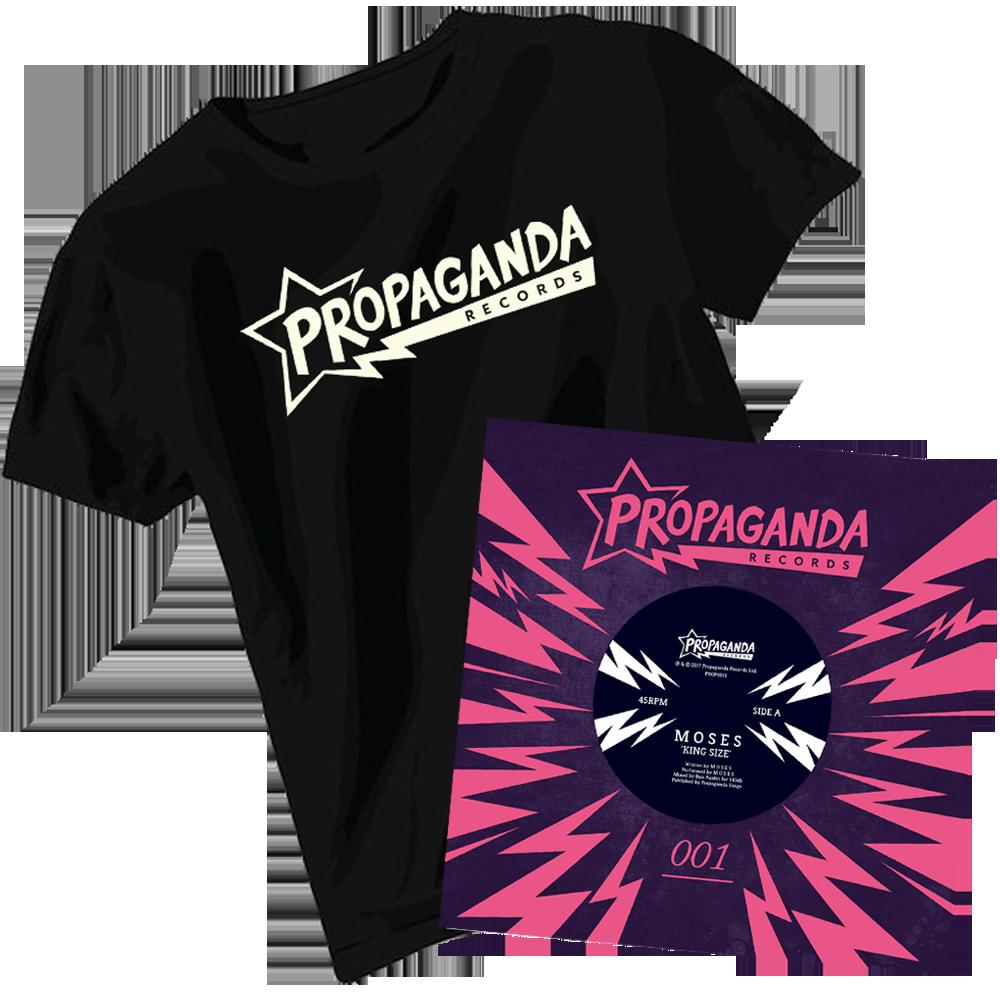 Buy Online Propaganda Records - Propaganda Records T-Shirt + M O S E S 7-Inch Vinyl