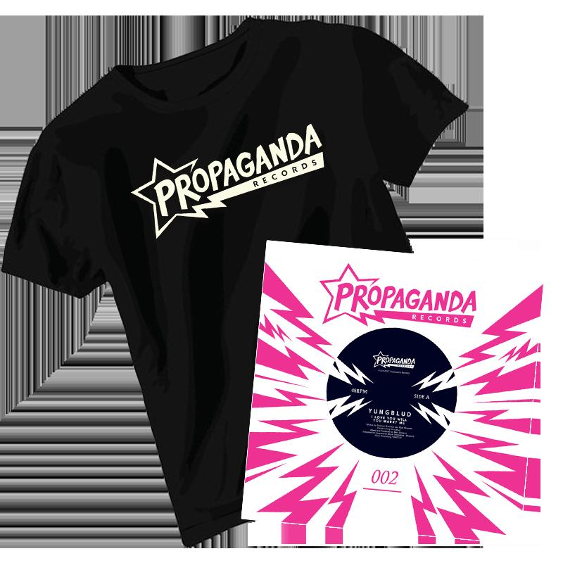 Buy Online Propaganda Records - Propaganda Records T-Shirt + YUNGBLUD 7-Inch Vinyl