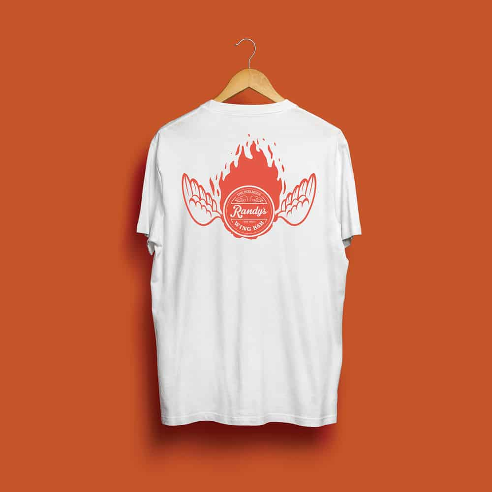 Buy Online Randy's Wing Bar - Fireball - White Tee