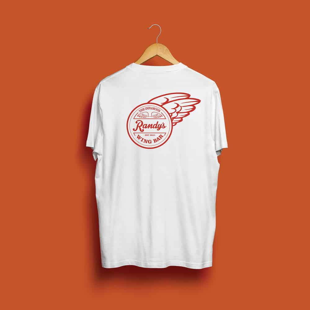 Buy Online Randy's Wing Bar - Fly Bye - White Tee