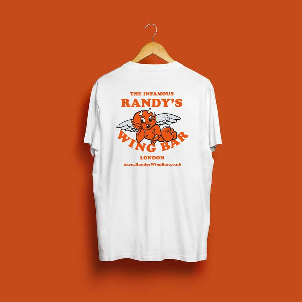 Buy Online Randy's Wing Bar - Sinner - White Tee