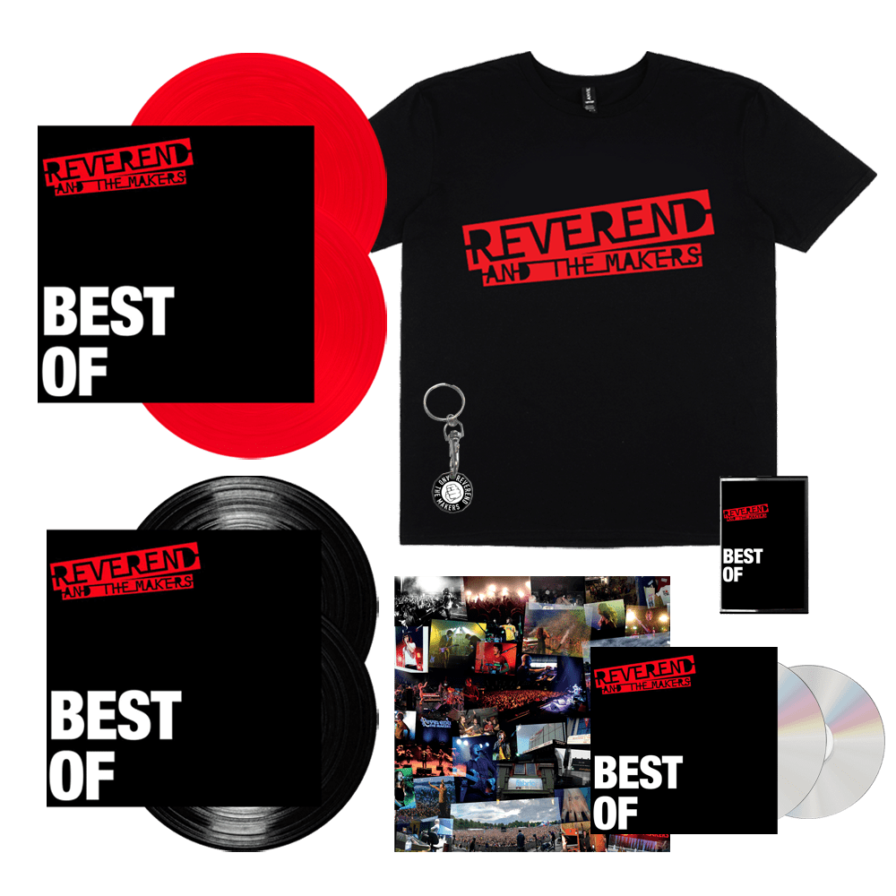 Buy Online Reverend & The Makers - Best Of Signed 2CD + Red Vinyl + Vinyl + Cassette + T-Shirt + Keyring + Signed Print