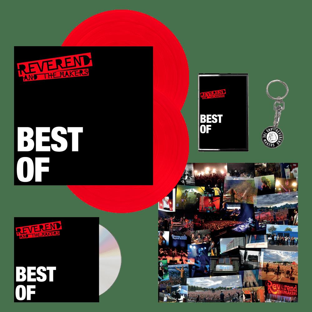 Buy Online Reverend & The Makers - Best Of Signed CD + Double Red Vinyl + Cassette + Keyring + Signed Print