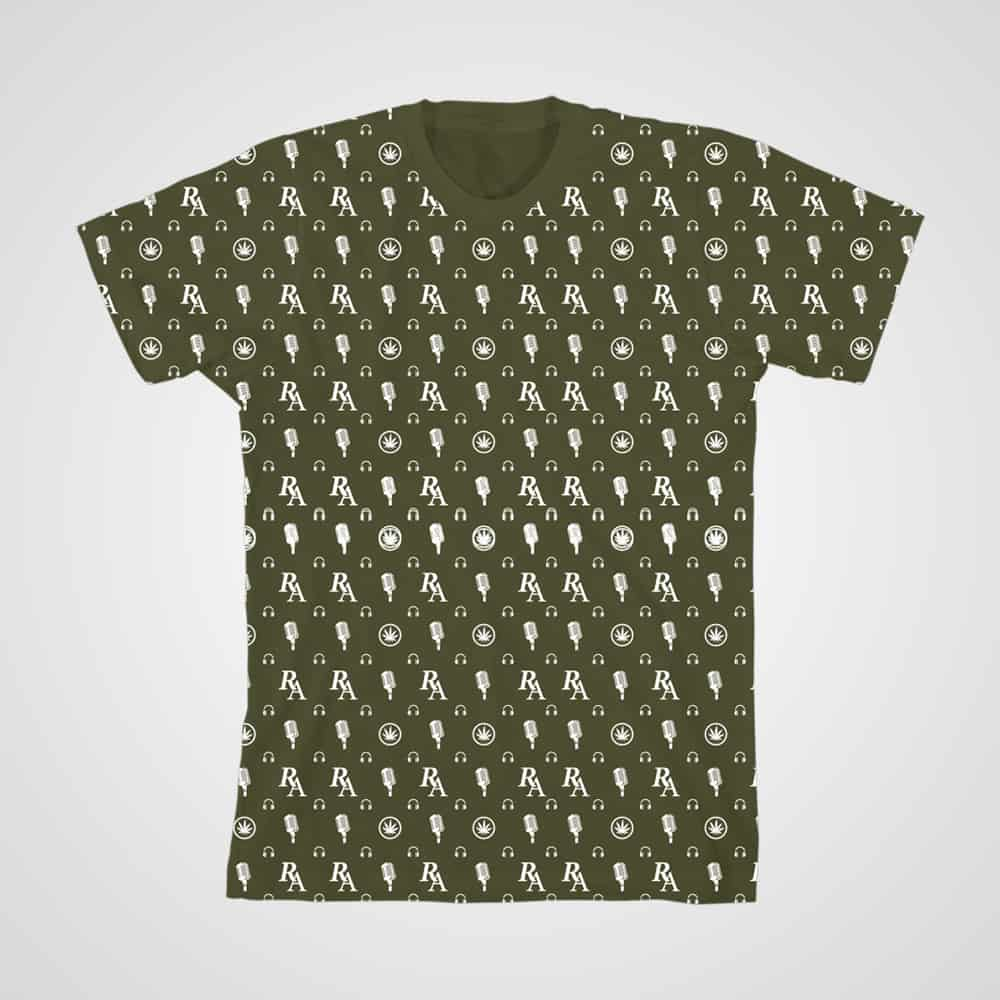 Buy Online Richard Ashcroft - RA All Over Pattern T-Shirt (Olive)