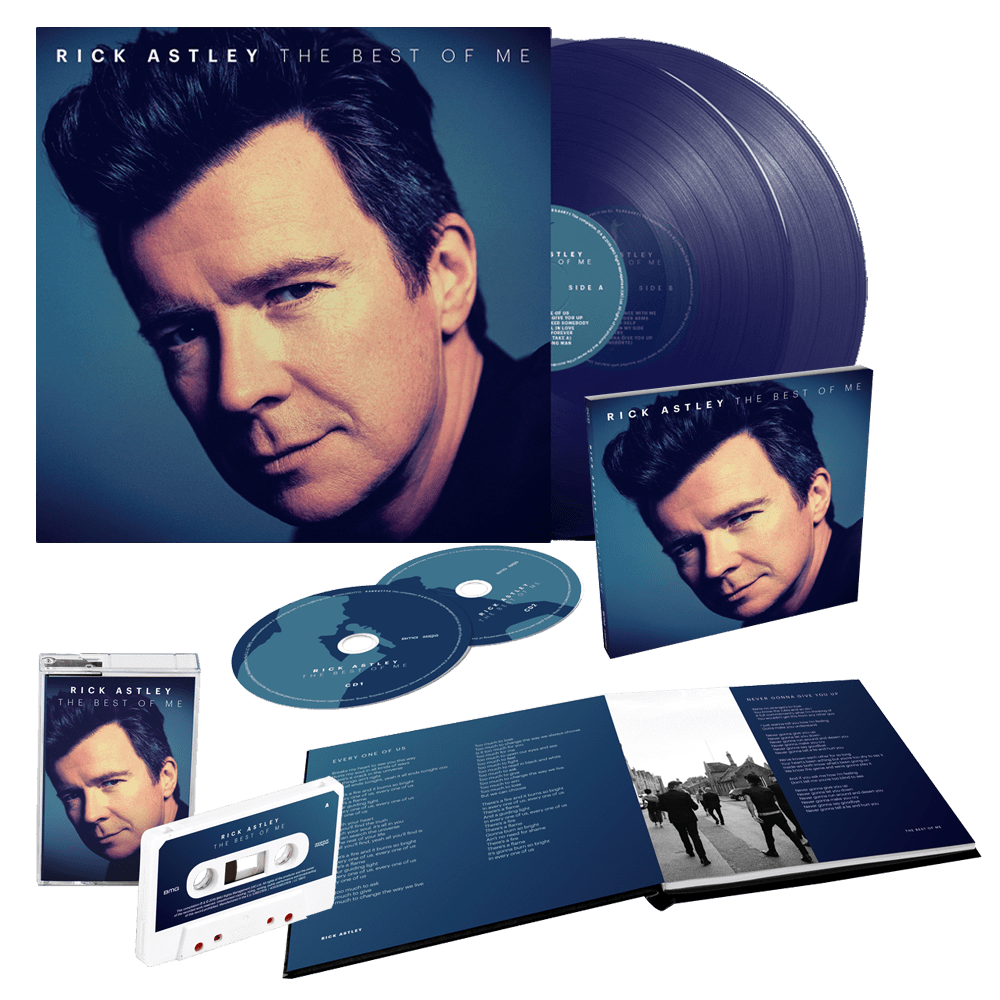 Buy Online Rick Astley - The Best Of Me Deluxe 2CD + Limited Edition Clear Blue Double Vinyl + White Cassette (Exclusive)