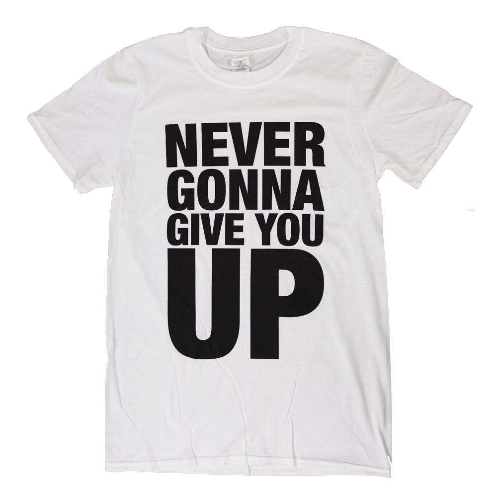 Buy Online Rick Astley - Never Gonna Give You Up White T-Shirt