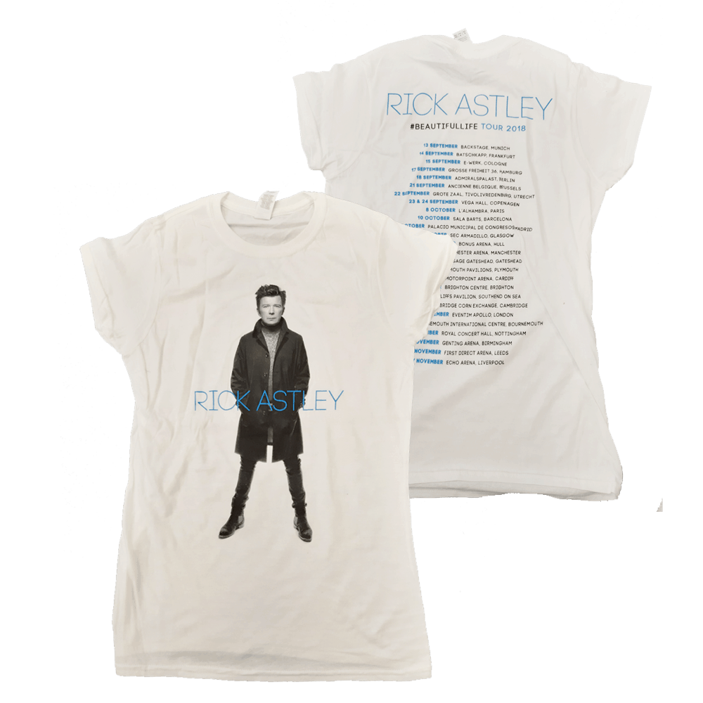 Buy Online Rick Astley - Ladies Beautiful Life 2018 Tour White T-Shirt