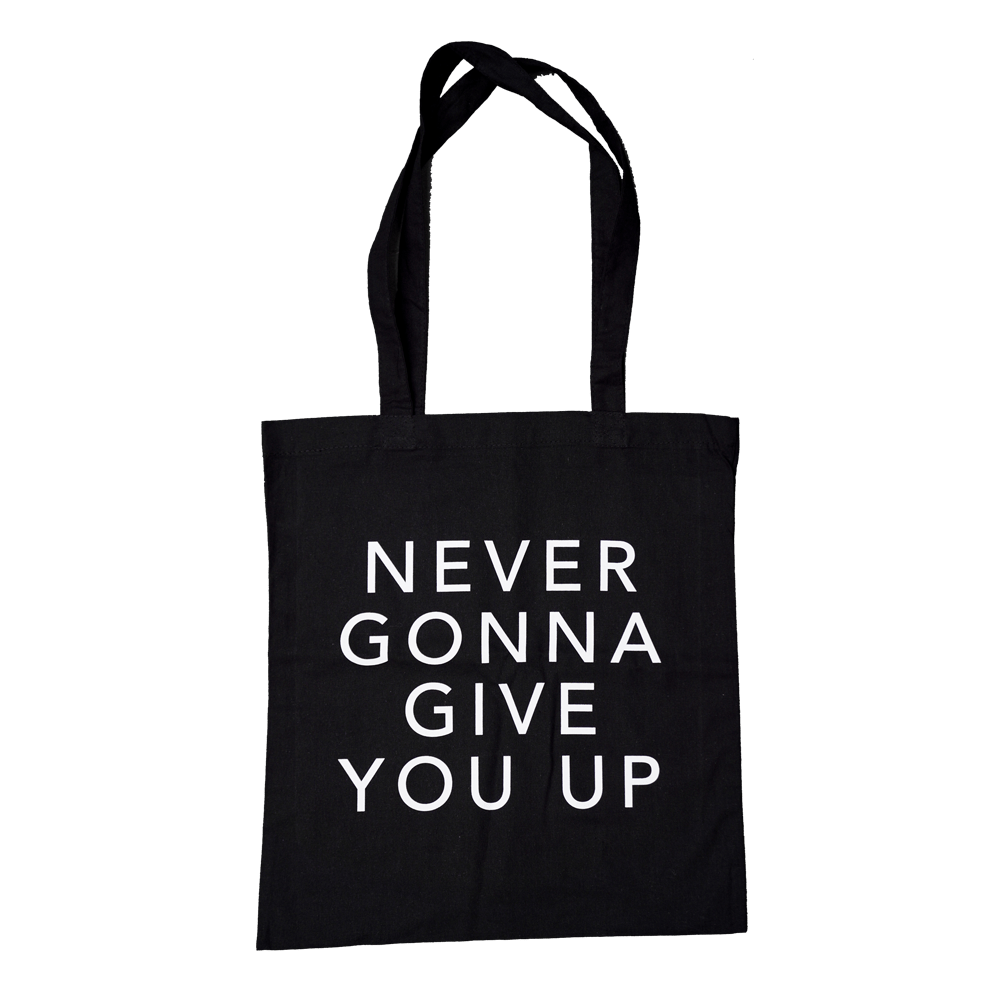 Buy Online Rick Astley - Never Gonna Give You Up Black Tote Bag