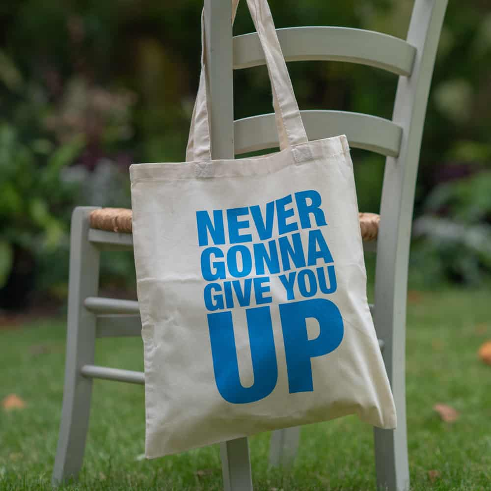 Buy Online Rick Astley - Never Gonna Give You Up Tote Bag