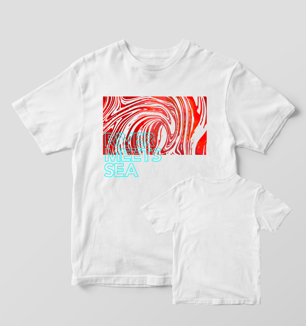Buy Online River Meets Sea - Ink Swirl White T-Shirt