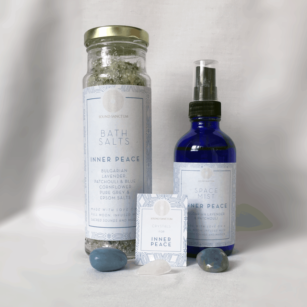 Buy Online Sasha Siem - Sound Sanctum Inner Peace Pack Comprising Bath Salts, Space Mist & Crystals