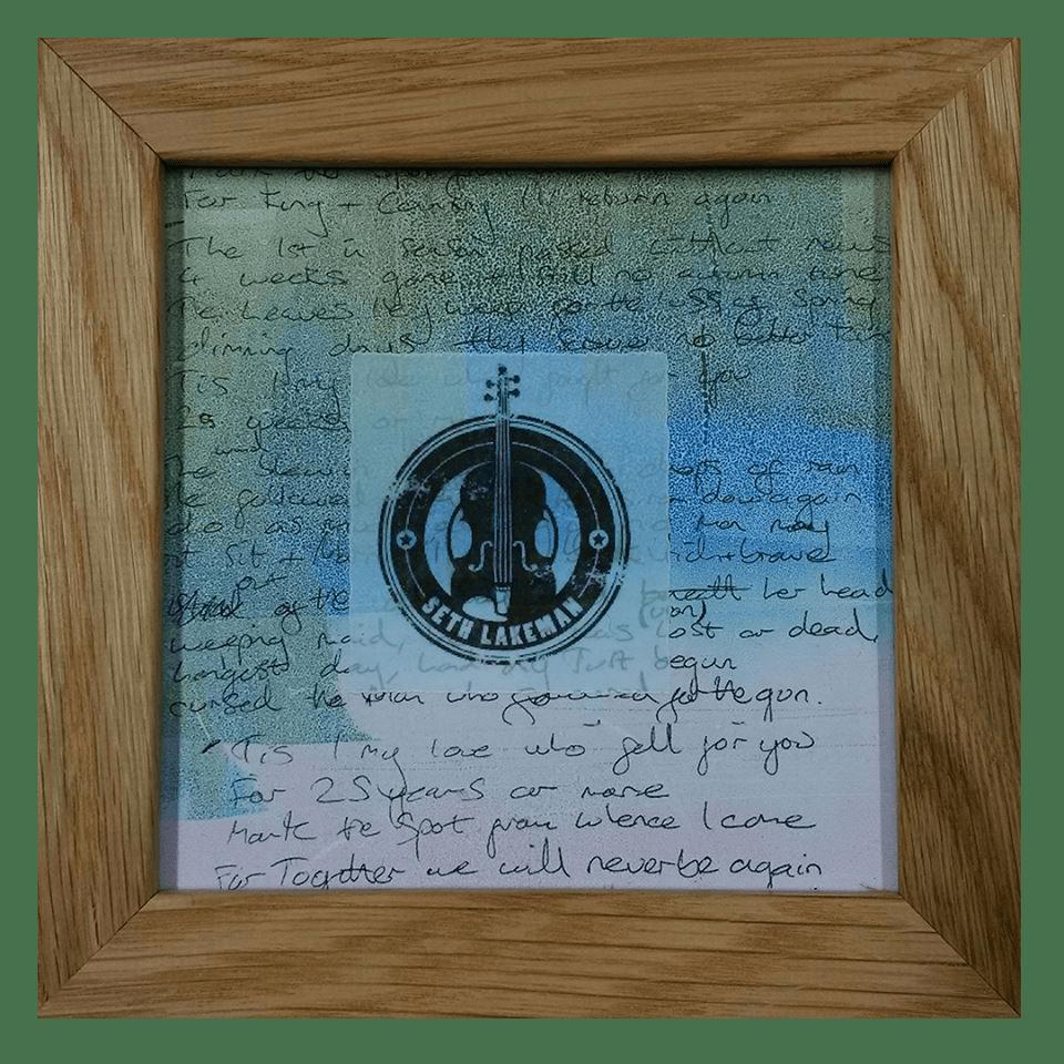 Buy Online Seth Lakeman - Unique Handwritten Lyric Sheet -  Oak Frame