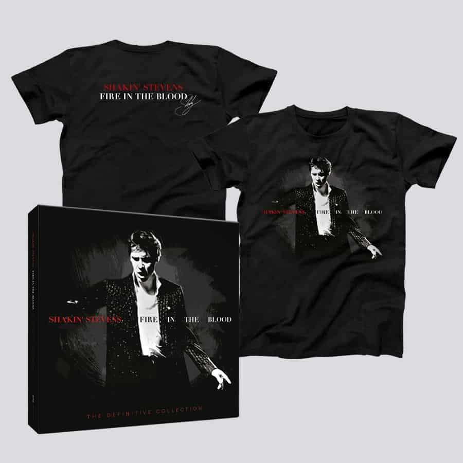 Buy Online Shakin Stevens - Fire In The Blood - The Definitive Collection Bookpack (Signed) + Fire In The Blood T-Shirt
