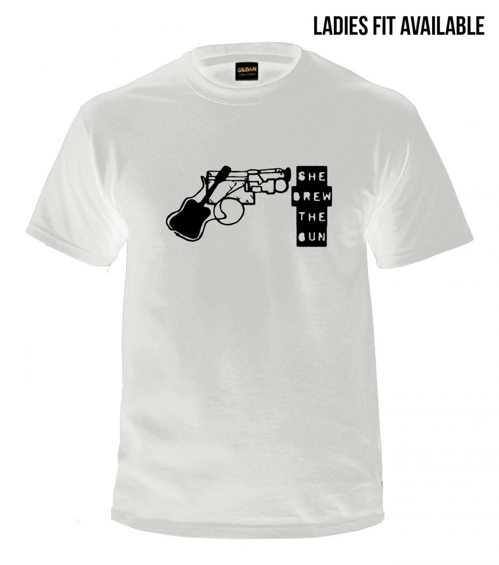 Buy Online She Drew The Gun - White Logo T-Shirt