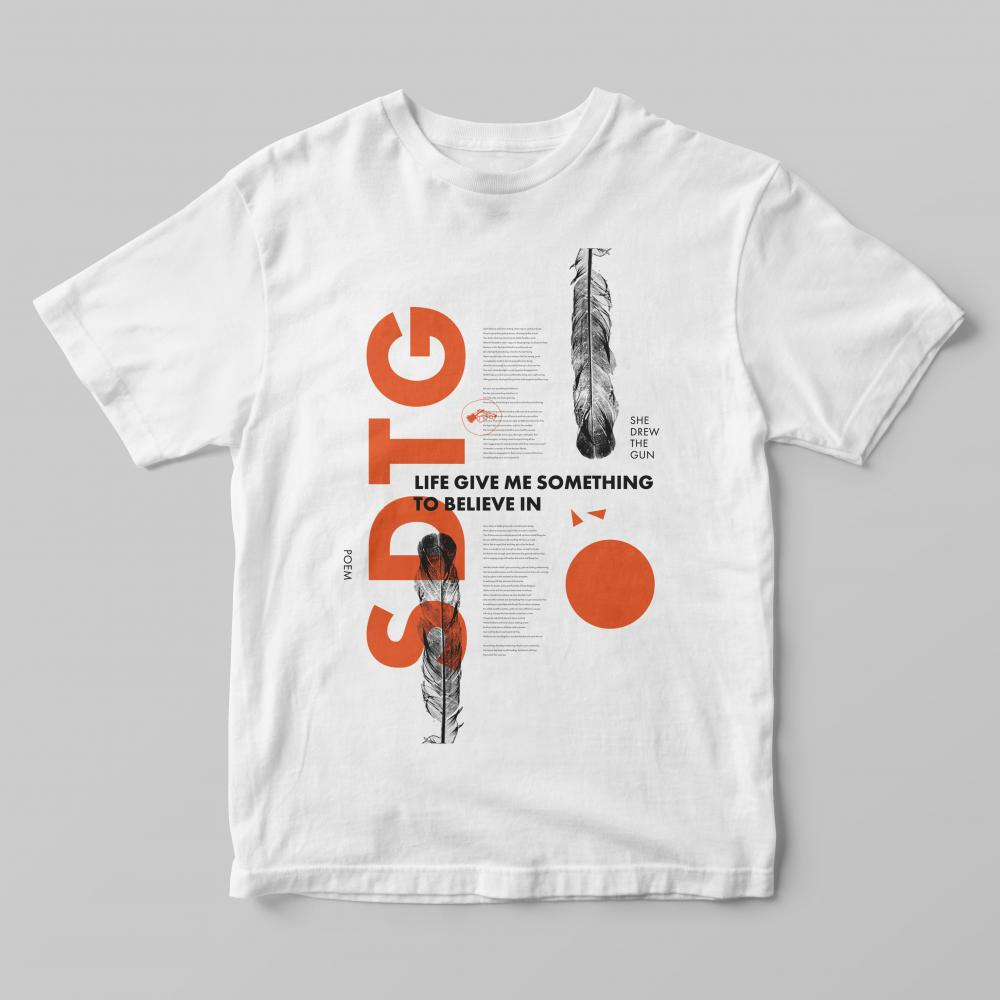 Buy Online She Drew The Gun - Poem Orange On White T-Shirt