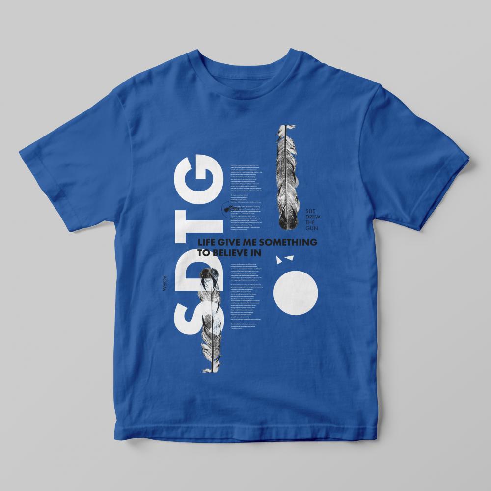 Buy Online She Drew The Gun - Mens Poem White On Blue T-Shirt