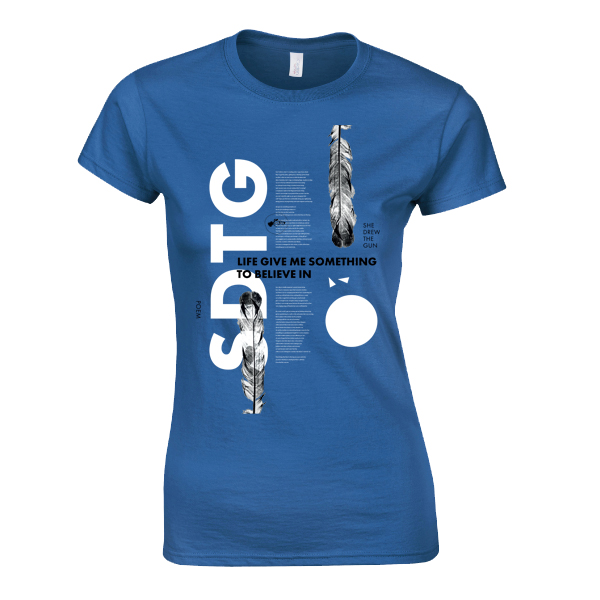 Buy Online She Drew The Gun - Ladies Poem White On Blue T-Shirt