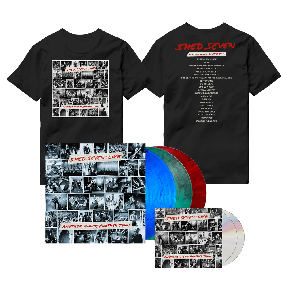 Buy Online Shed Seven - Another Night, Another Town 2CD Album (Signed) + Smoke Coloured Triple Vinyl (Signed) + Cover T-Shirt
