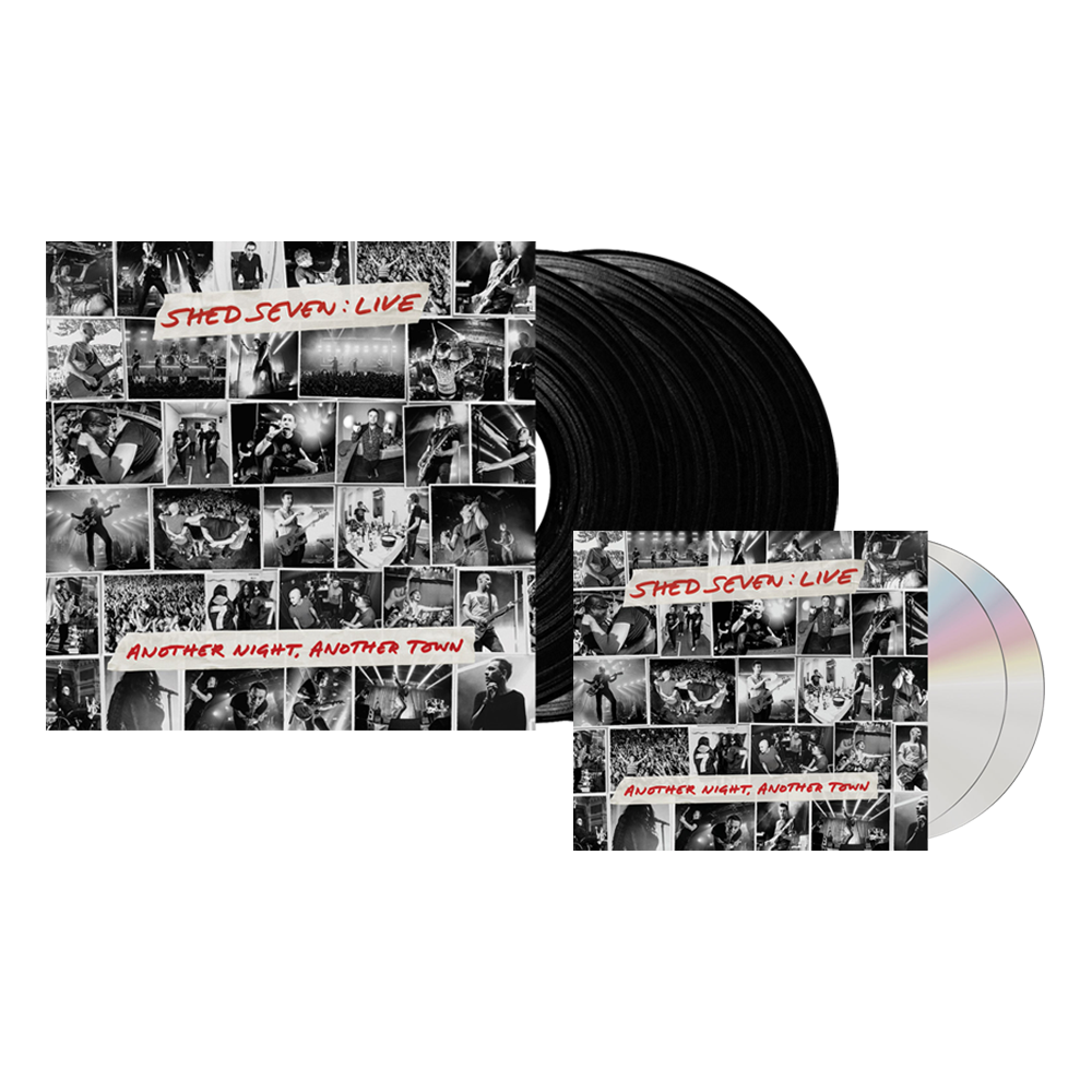 Buy Online Shed Seven - Another Night, Another Town 2CD Album (Signed) + Black Triple Vinyl (Signed)
