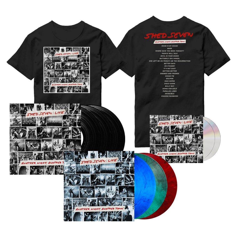 Buy Online Shed Seven - Another Night, Another Town 2CD Album (Signed) + Smoke Coloured Triple Vinyl (Signed) + Black Triple Vinyl (Signed) + Cover T-Shirt