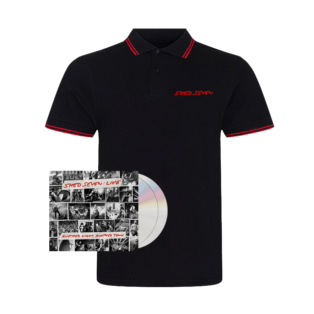 Buy Online Shed Seven - Another Night, Another Town 2CD Album (Signed) + Mens Red Piping Polo Shirt