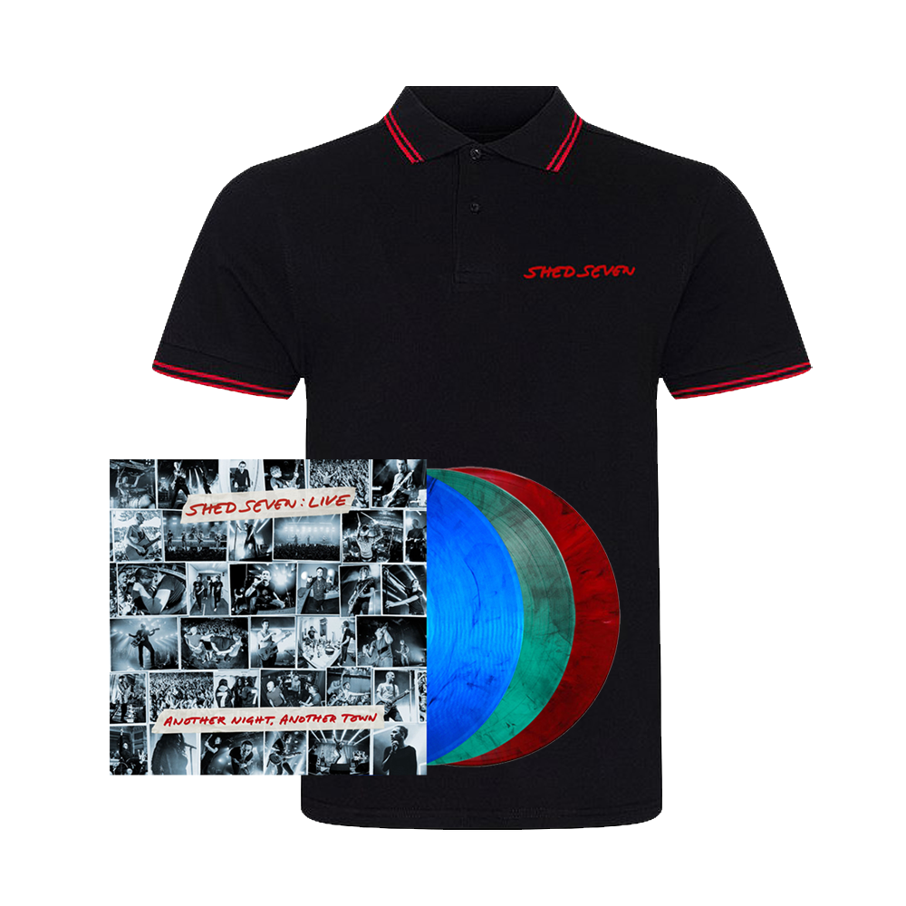Buy Online Shed Seven - Another Night, Another Town Smoke Coloured Triple Vinyl (Signed) + Mens Red Piping Polo Shirt