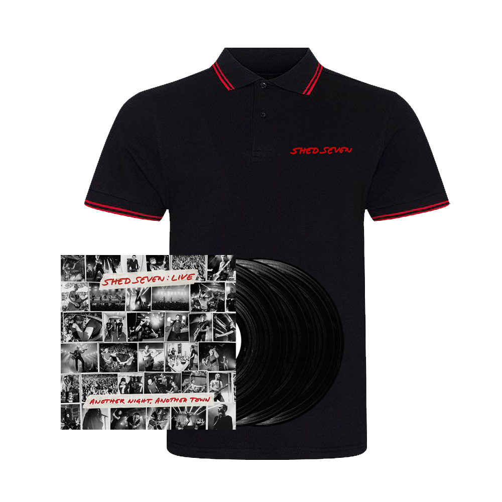Buy Online Shed Seven - Another Night, Another Town Black Triple Vinyl + Mens Red Piping Polo Shirt