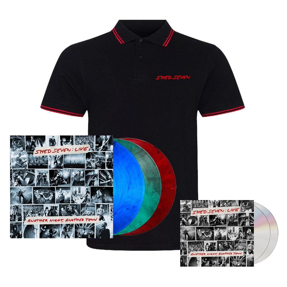Buy Online Shed Seven - Another Night, Another Town 2CD Album (Signed) + Smoke Coloured Triple Vinyl (Signed) + Mens Red Piping Polo Shirt