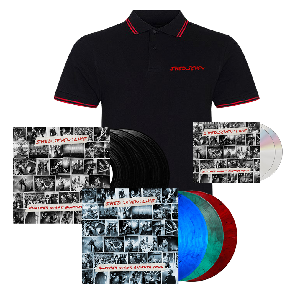 Buy Online Shed Seven - Another Night, Another Town 2CD Album (Signed) + Smoke Coloured Triple Vinyl (Signed) + Black Triple Vinyl (Signed) + Mens Red Piping Polo Shirt