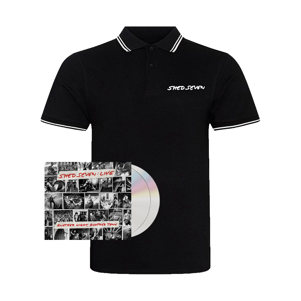Buy Online Shed Seven - Another Night, Another Town 2CD Album (Signed) + Mens White Piping Polo Shirt