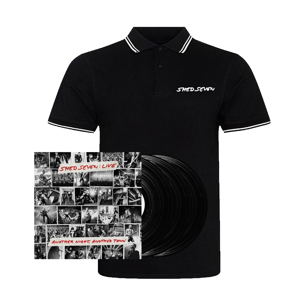 Buy Online Shed Seven - Another Night, Another Town Black Triple Vinyl (Signed) + Mens White Piping Polo Shirt
