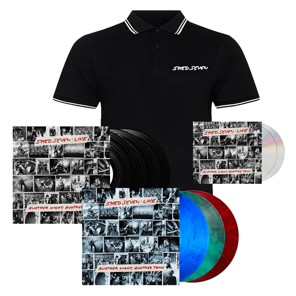 Buy Online Shed Seven - Another Night, Another Town 2CD Album (Signed) + Smoke Coloured Triple Vinyl (Signed) + Black Triple Vinyl (Signed) + Mens White Piping Polo Shirt